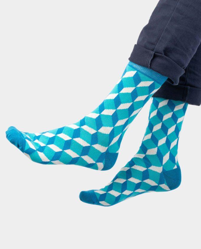 Blue Cube Sox on legs, Colorful Socks, OhSox